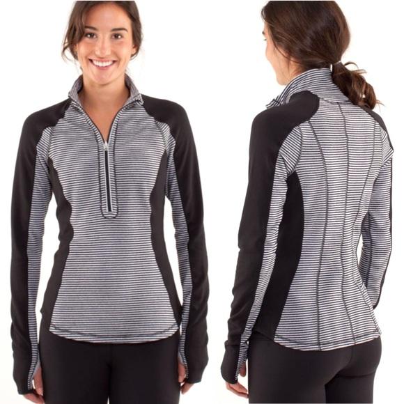 lululemon athletica Tops - Lululemon Run U-Turn Reversible Striped Pullover